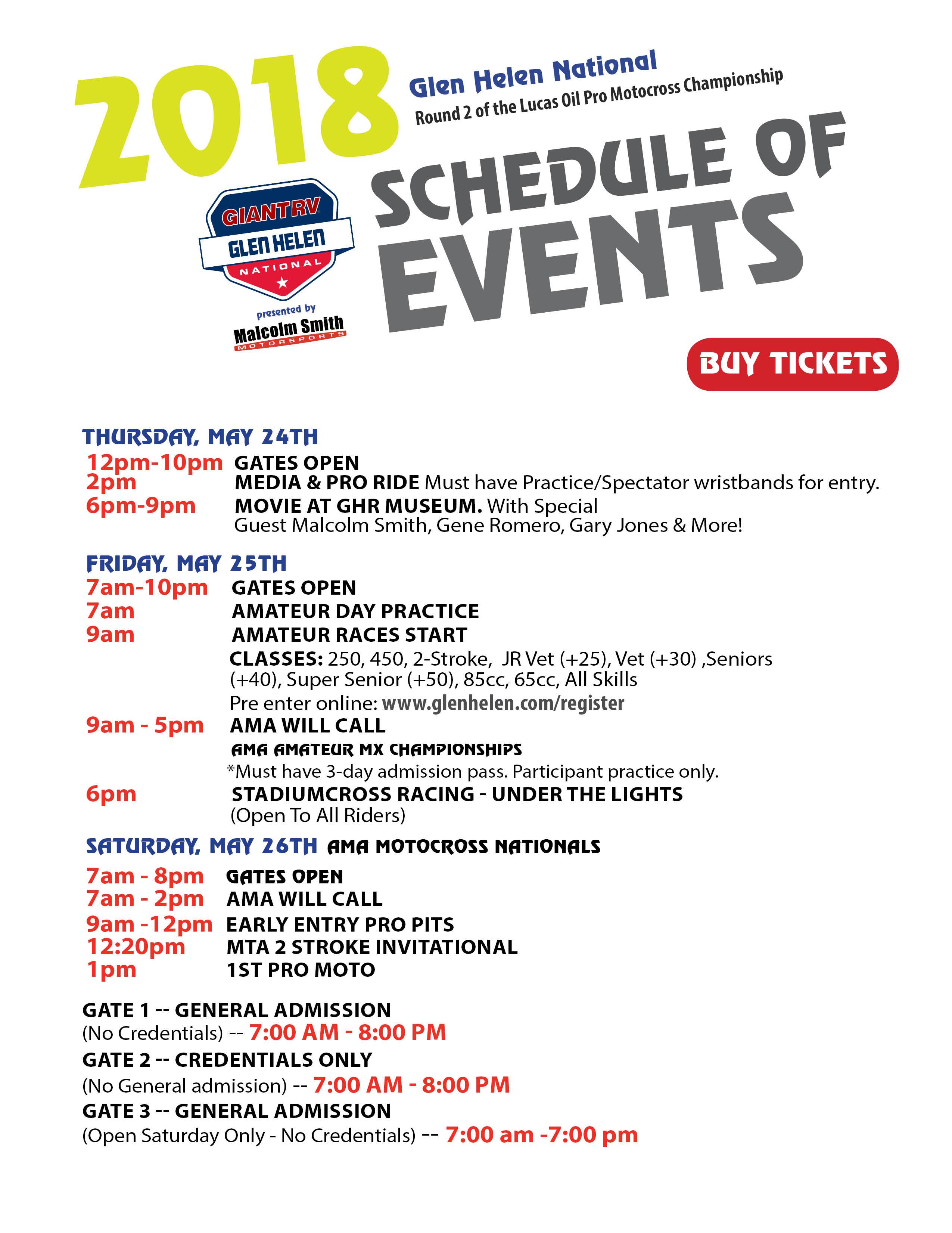schedule of events glen helen raceway